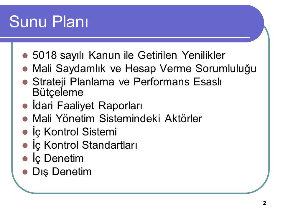2 Sunu Planı 5018 sayılı Kanun ile Getirilen Yenilikler Mali Saydamlık ve Hesap Verme Sorumluluğu Strateji Planlama ve Performans Esaslı Bütçeleme İda