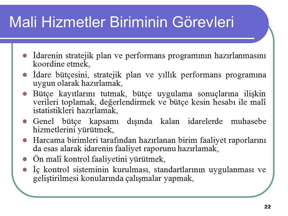 22 Mali Hizmetler Biriminin Görevleri İdarenin stratejik plan ve performans programının hazırlanmasını koordine etmek, İdare bütçesini, stratejik plan