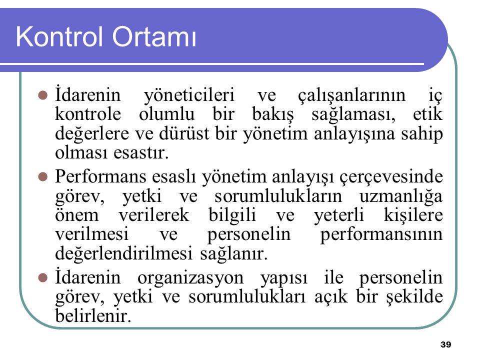 39 Kontrol Ortamı İdarenin yöneticileri ve çalışanlarının iç kontrole olumlu bir bakış sağlaması, etik değerlere ve dürüst bir yönetim anlayışına sahi