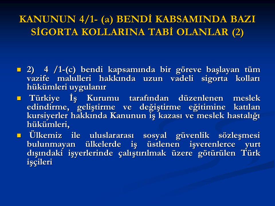 01/10/2008 TARİHİNDEN SONRA ÇALIŞMAYA BAŞLAYANLARIN ÇALIŞMALARININ ÇAKIŞMASI (2) 01/10/2008 TARİHİNDEN SONRA ÇALIŞMAYA BAŞLAYANLARIN ÇALIŞMALARININ ÇAKIŞMASI (2) 4- Kanunun 4/1 (a) bendi kapsamındaki sigortalının birden fazla işveren yanında çalışması halinde bu çalışmalarının tamamı dikkate alınacaktır.