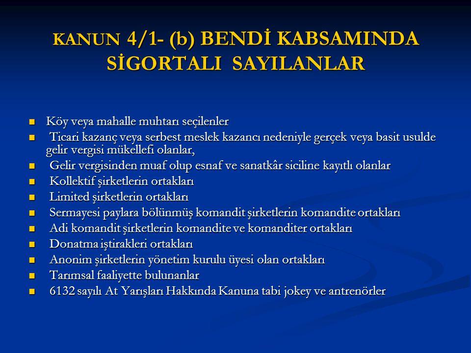 01/10/2008 TARİHİNDEN ÖNCE ÇALIŞMAYA BAŞLAYANLARIN ÇALIŞMALARININ ÇAKIŞMASI (2) 4- Kanunun 4 /1 (b) bendinin (4) numaralı alt bendine tabi tarımsal faaliyetleri devam edenler, 2008 yılı Ekim ayı başından sonra bu sigortalılıkları sona ermeden Kanunun 4 üncü maddesinin birinci fıkrasının (a) bendi kapsamına alınmayacaklardır.