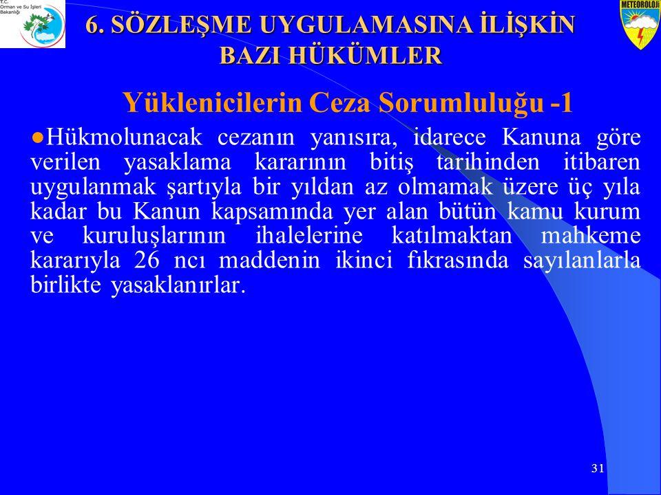31 Yüklenicilerin Ceza Sorumluluğu -1 ●Hükmolunacak cezanın yanısıra, idarece Kanuna göre verilen yasaklama kararının bitiş tarihinden itibaren uygula
