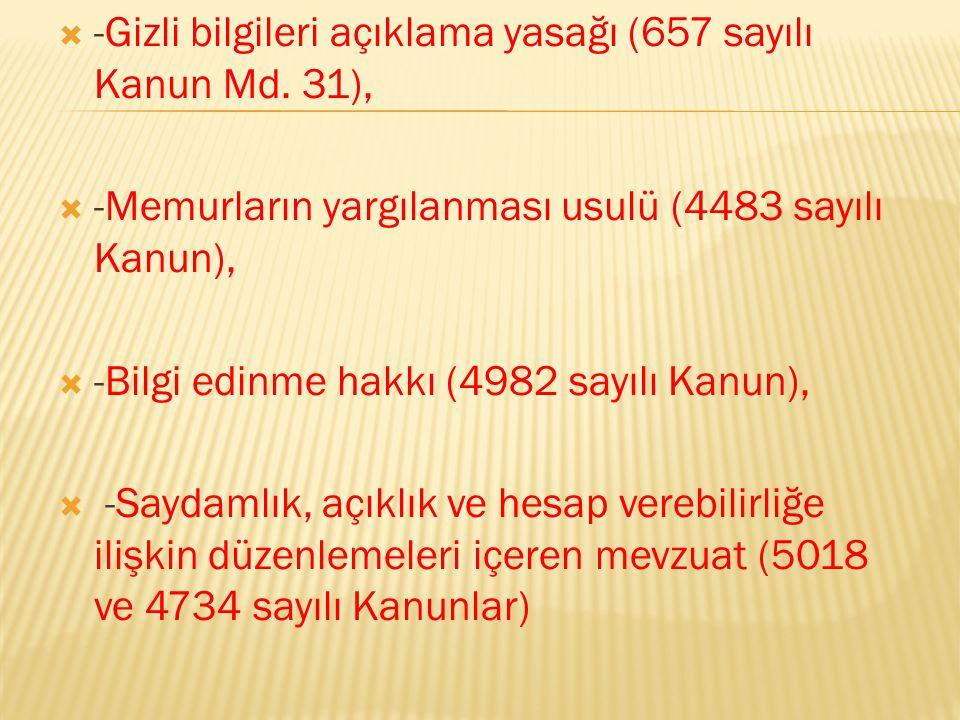  -Gizli bilgileri açıklama yasağı (657 sayılı Kanun Md.