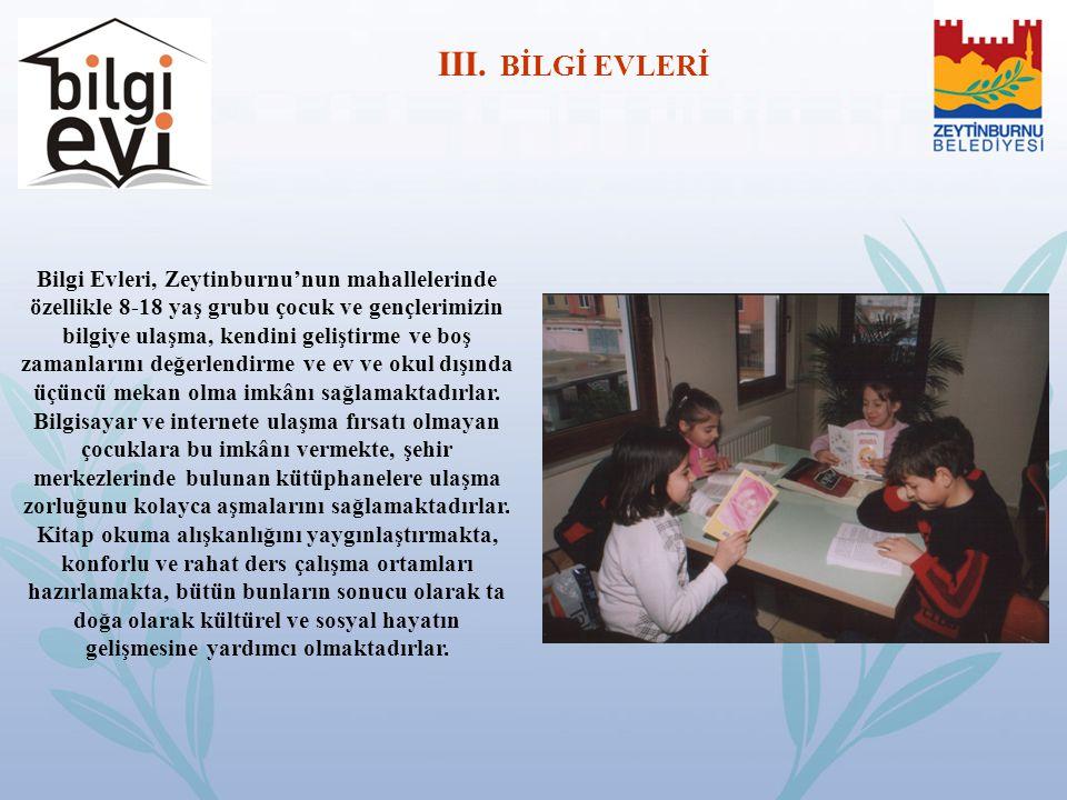 Bilgi Evleri, Zeytinburnu'nun mahallelerinde özellikle 8-18 yaş grubu çocuk ve gençlerimizin bilgiye ulaşma, kendini geliştirme ve boş zamanlarını değ