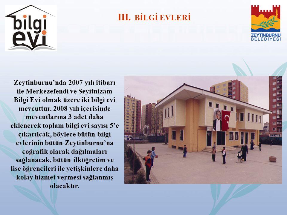 Zeytinburnu'nda 2007 yılı itibarı ile Merkezefendi ve Seyitnizam Bilgi Evi olmak üzere iki bilgi evi mevcuttur. 2008 yılı içerisinde mevcutlarına 3 ad