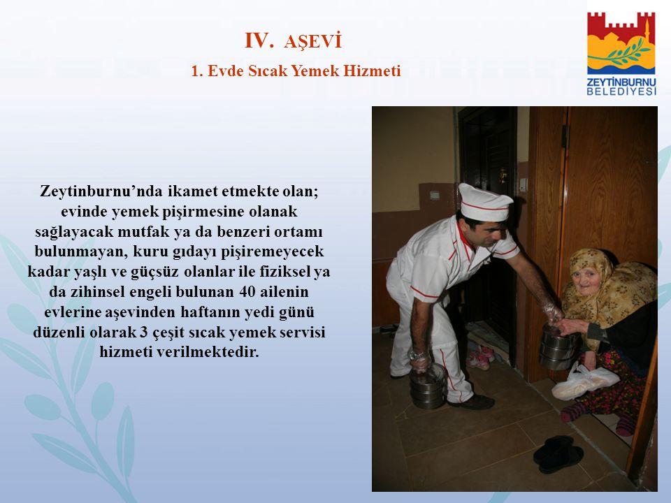 Zeytinburnu'nda ikamet etmekte olan; evinde yemek pişirmesine olanak sağlayacak mutfak ya da benzeri ortamı bulunmayan, kuru gıdayı pişiremeyecek kada