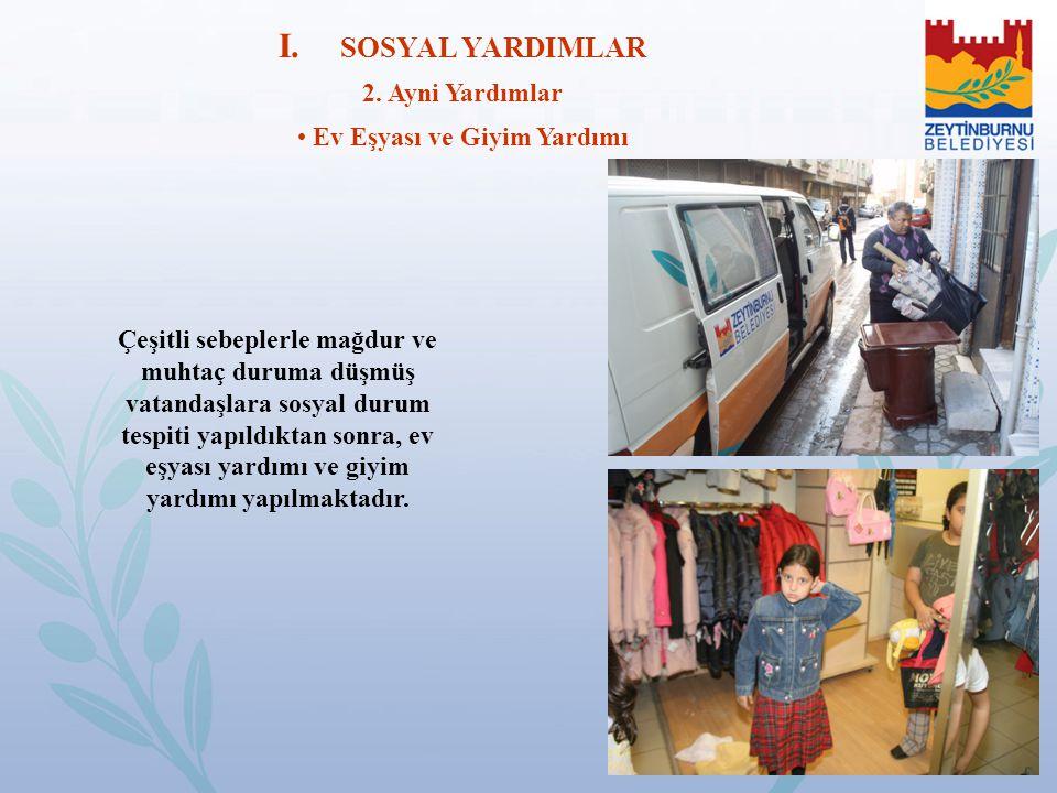 I. SOSYAL YARDIMLAR 2. Ayni Yardımlar Ev Eşyası ve Giyim Yardımı Çeşitli sebeplerle mağdur ve muhtaç duruma düşmüş vatandaşlara sosyal durum tespiti y