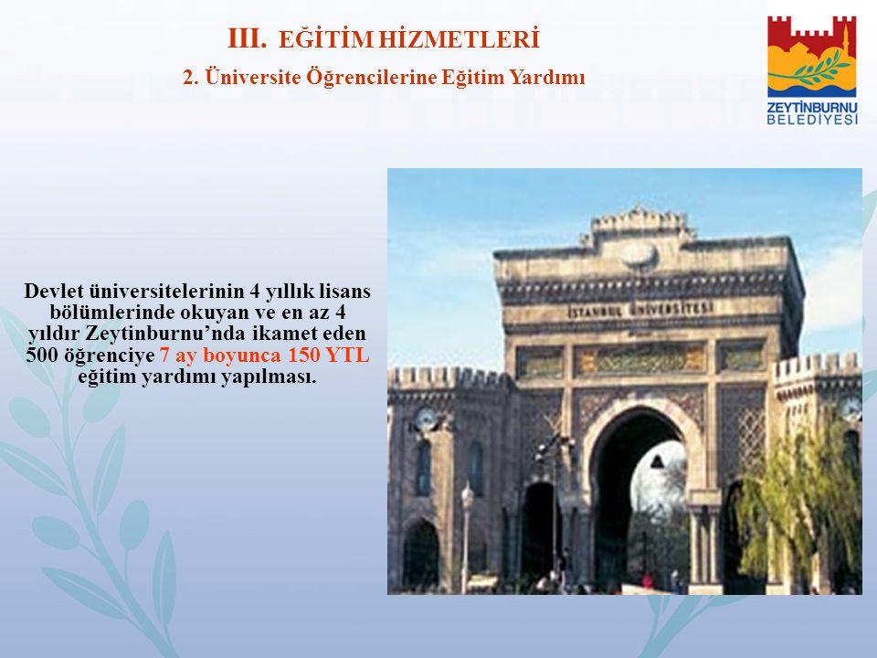 Devlet üniversitelerinin 4 yıllık lisans bölümlerinde okuyan ve en az 4 yıldır Zeytinburnu'nda ikamet eden 500 öğrenciye 7 ay boyunca 150 YTL eğitim y