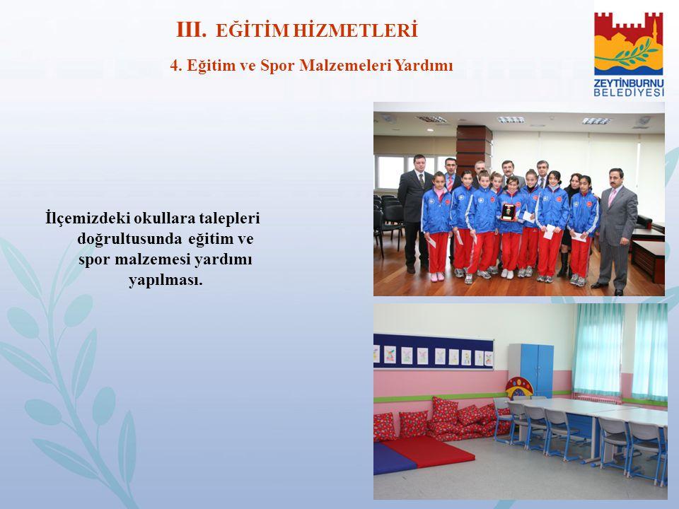 III. EĞİTİM HİZMETLERİ 4. Eğitim ve Spor Malzemeleri Yardımı İlçemizdeki okullara talepleri doğrultusunda eğitim ve spor malzemesi yardımı yapılması.