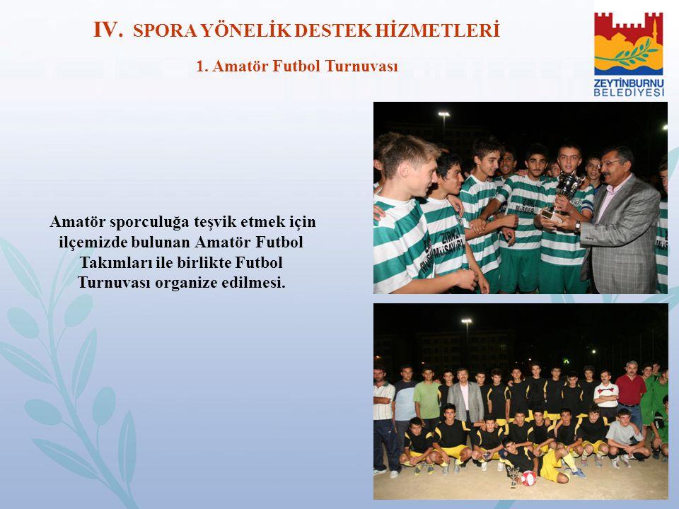 Amatör sporculuğa teşvik etmek için ilçemizde bulunan Amatör Futbol Takımları ile birlikte Futbol Turnuvası organize edilmesi. IV. SPORA YÖNELİK DESTE
