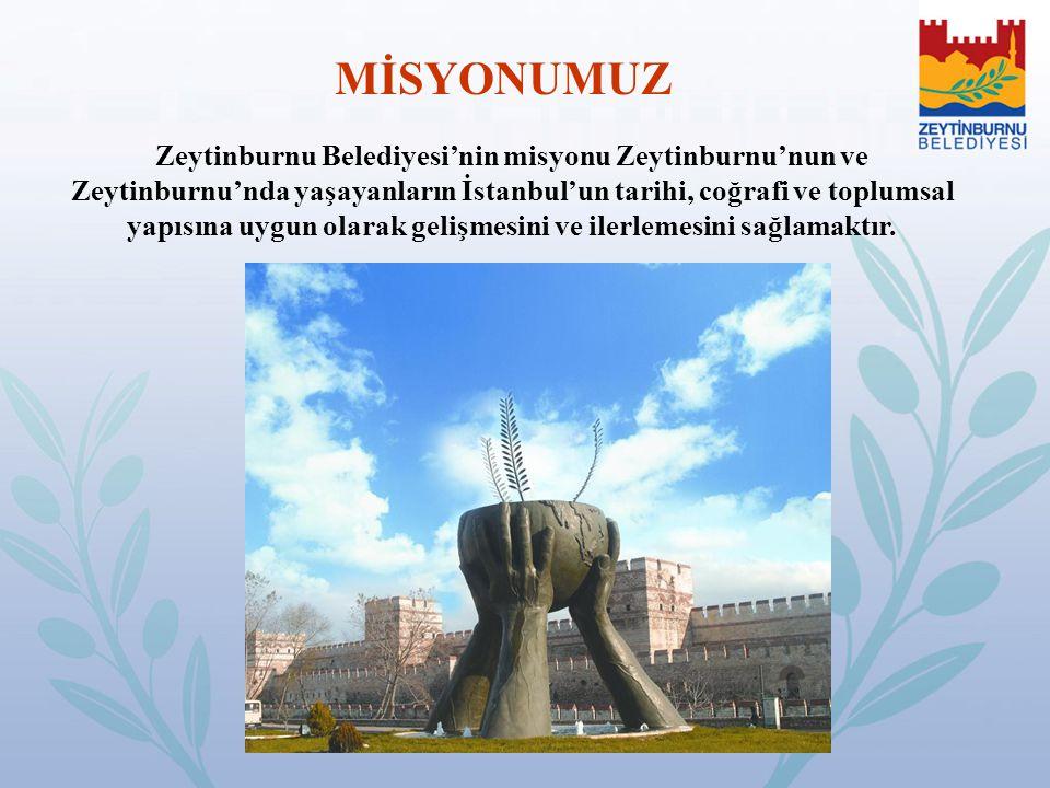 MİSYONUMUZ Zeytinburnu Belediyesi'nin misyonu Zeytinburnu'nun ve Zeytinburnu'nda yaşayanların İstanbul'un tarihi, coğrafi ve toplumsal yapısına uygun
