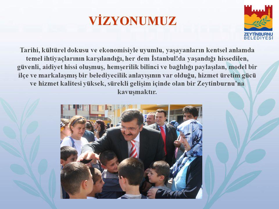 VİZYONUMUZ Tarihi, kültürel dokusu ve ekonomisiyle uyumlu, yaşayanların kentsel anlamda temel ihtiyaçlarının karşılandığı, her dem İstanbul!da yaşandı