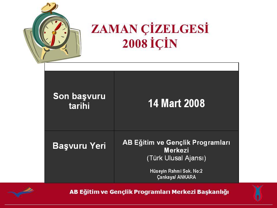 AB Eğitim ve Gençlik Programları Merkezi Başkanlığı ZAMAN ÇİZELGESİ 2008 İÇİN