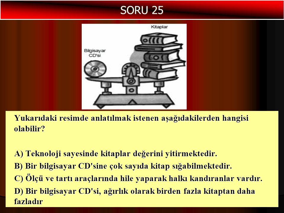 Yukarıdaki resimde anlatılmak istenen aşağıdakilerden hangisi olabilir? A) Teknoloji sayesinde kitaplar değerini yitirmektedir. B) Bir bilgisayar CD's