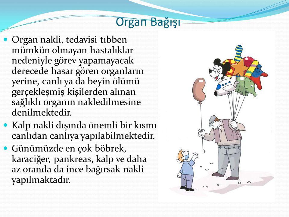 Organ Bağışı Organ nakli, tedavisi tıbben mümkün olmayan hastalıklar nedeniyle görev yapamayacak derecede hasar gören organların yerine, canlı ya da b