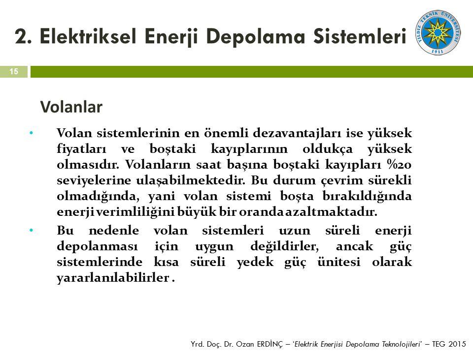 15 Yrd. Doç. Dr. Ozan ERD İ NÇ – 'Elektrik Enerjisi Depolama Teknolojileri' – TEG 2015 2. Elektriksel Enerji Depolama Sistemleri Volanlar Volan sistem