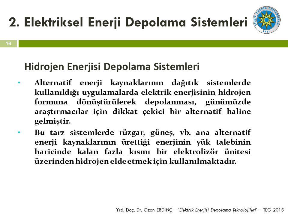 16 Yrd. Doç. Dr. Ozan ERD İ NÇ – 'Elektrik Enerjisi Depolama Teknolojileri' – TEG 2015 2. Elektriksel Enerji Depolama Sistemleri Hidrojen Enerjisi Dep