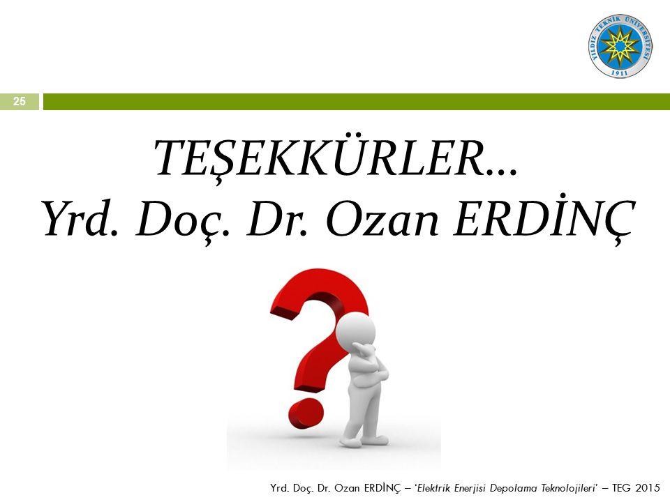 25 TEŞEKKÜRLER… Yrd. Doç. Dr. Ozan ERDİNÇ Yrd. Doç. Dr. Ozan ERD İ NÇ – 'Elektrik Enerjisi Depolama Teknolojileri' – TEG 2015