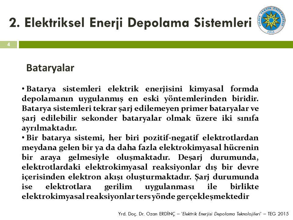 4 Yrd. Doç. Dr. Ozan ERD İ NÇ – 'Elektrik Enerjisi Depolama Teknolojileri' – TEG 2015 2. Elektriksel Enerji Depolama Sistemleri Bataryalar Batarya sis
