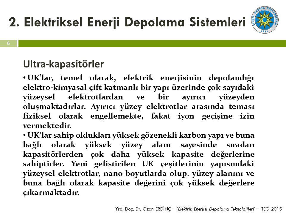 6 Yrd. Doç. Dr. Ozan ERD İ NÇ – 'Elektrik Enerjisi Depolama Teknolojileri' – TEG 2015 2. Elektriksel Enerji Depolama Sistemleri Ultra-kapasitörler UK'