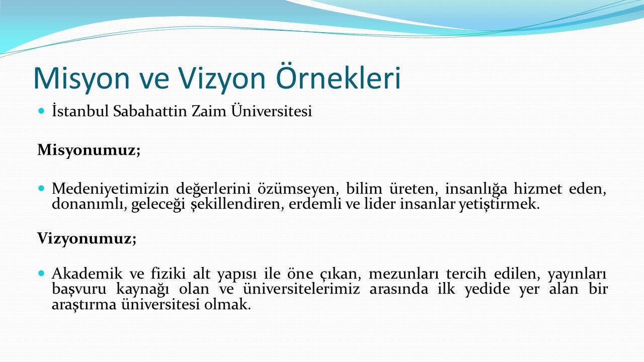 Misyon ve Vizyon Örnekleri İstanbul Sabahattin Zaim Üniversitesi Misyonumuz; Medeniyetimizin değerlerini özümseyen, bilim üreten, insanlığa hizmet ede