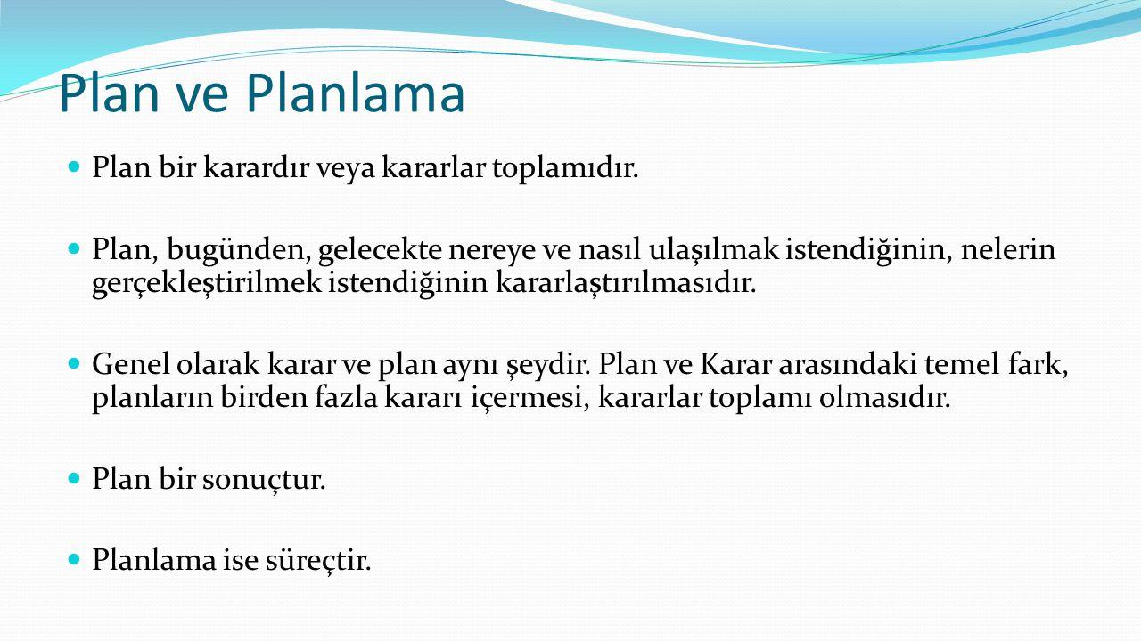 Plan ve Planlama Plan bir karardır veya kararlar toplamıdır. Plan, bugünden, gelecekte nereye ve nasıl ulaşılmak istendiğinin, nelerin gerçekleştiri