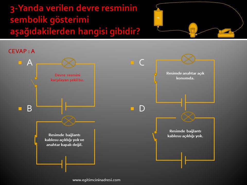 ABAB CDCD PİL Devre resmini karşılayan şekil bu. Resimde anahtar açık konumda. Resimde bağlantı kablosu açıklığı yok. Resimde bağlantı kablosu