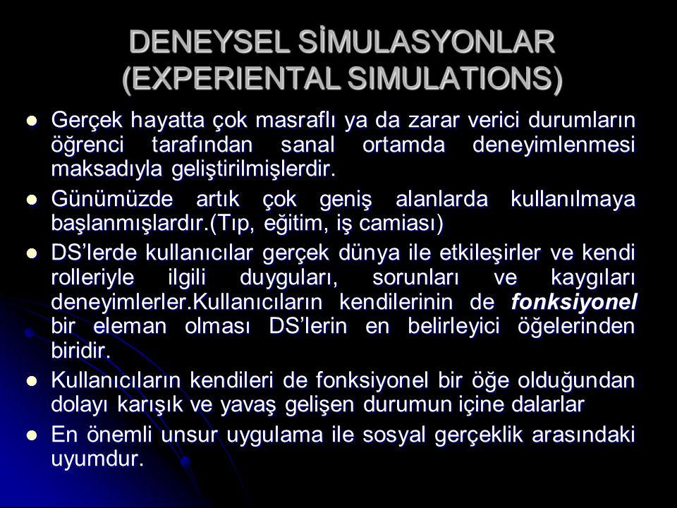 DENEYSEL SİMULASYONLAR (EXPERIENTAL SIMULATIONS) Gerçek hayatta çok masraflı ya da zarar verici durumların öğrenci tarafından sanal ortamda deneyimlenmesi maksadıyla geliştirilmişlerdir.