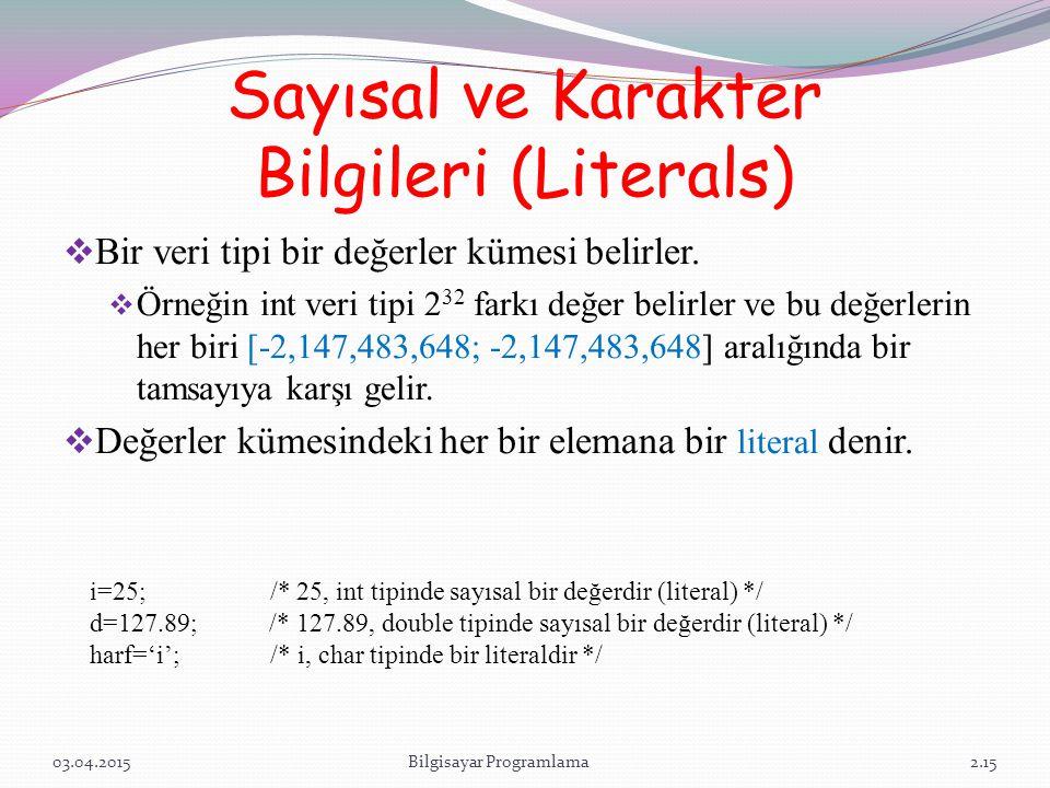 Sayısal ve Karakter Bilgileri (Literals)  Bir veri tipi bir değerler kümesi belirler.  Örneğin int veri tipi 2 32 farkı değer belirler ve bu değerle