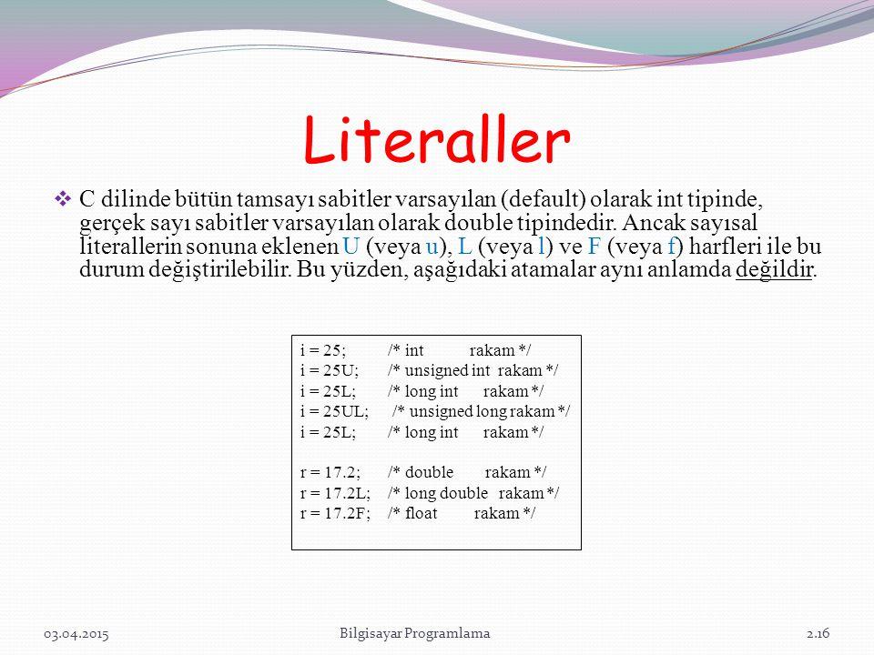 Literaller  C dilinde bütün tamsayı sabitler varsayılan (default) olarak int tipinde, gerçek sayı sabitler varsayılan olarak double tipindedir. Ancak