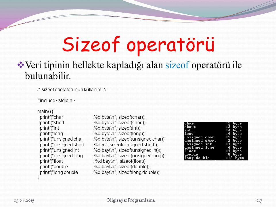 Sizeof operatörü  Veri tipinin bellekte kapladığı alan sizeof operatörü ile bulunabilir. 03.04.2015Bilgisayar Programlama /* sizeof operatörünün kull