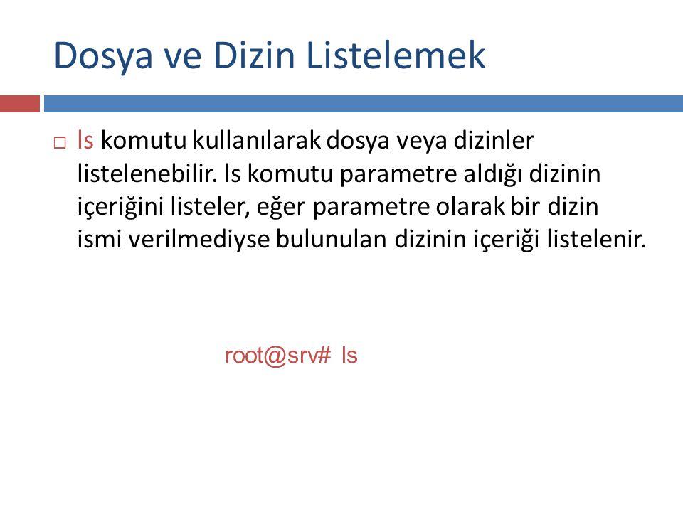 Dosya ve Dizin Listelemek  ls komutunun aldığı bazı parametreler aşağıdaki gibidir :  -a : Tüm dosyaları göstermek için gereklidir.