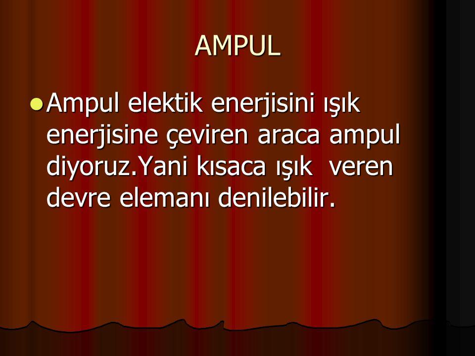 AMPUL Ampul elektik enerjisini ışık enerjisine çeviren araca ampul diyoruz.Yani kısaca ışık veren devre elemanı denilebilir. Ampul elektik enerjisini