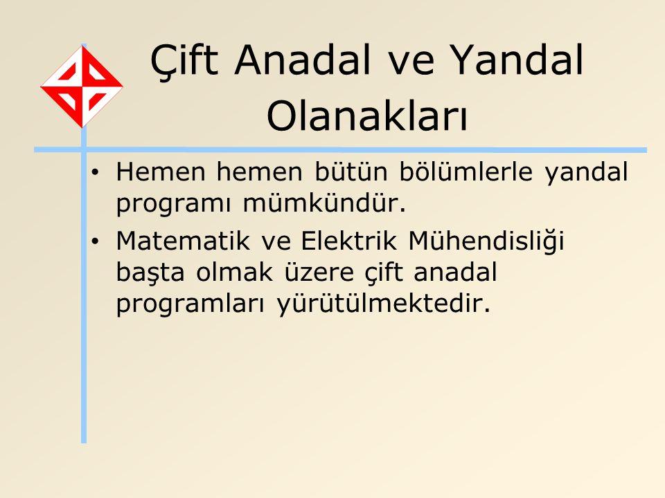 Çift Anadal ve Yandal Olanakları Hemen hemen bütün bölümlerle yandal programı mümkündür.