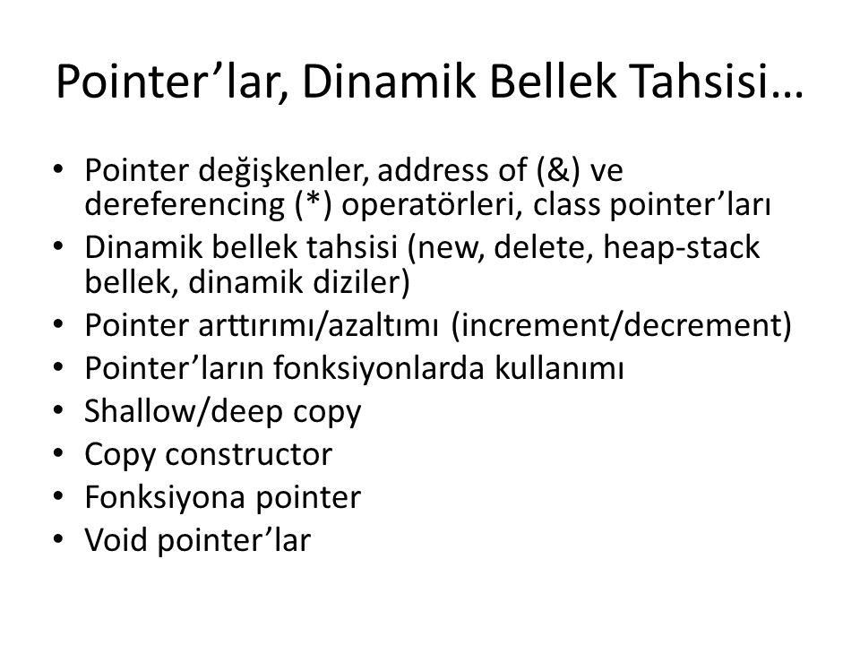 Pointer'lar, Dinamik Bellek Tahsisi… Pointer değişkenler, address of (&) ve dereferencing (*) operatörleri, class pointer'ları Dinamik bellek tahsisi
