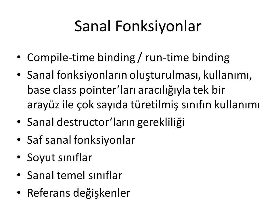 Sanal Fonksiyonlar Compile-time binding / run-time binding Sanal fonksiyonların oluşturulması, kullanımı, base class pointer'ları aracılığıyla tek bir
