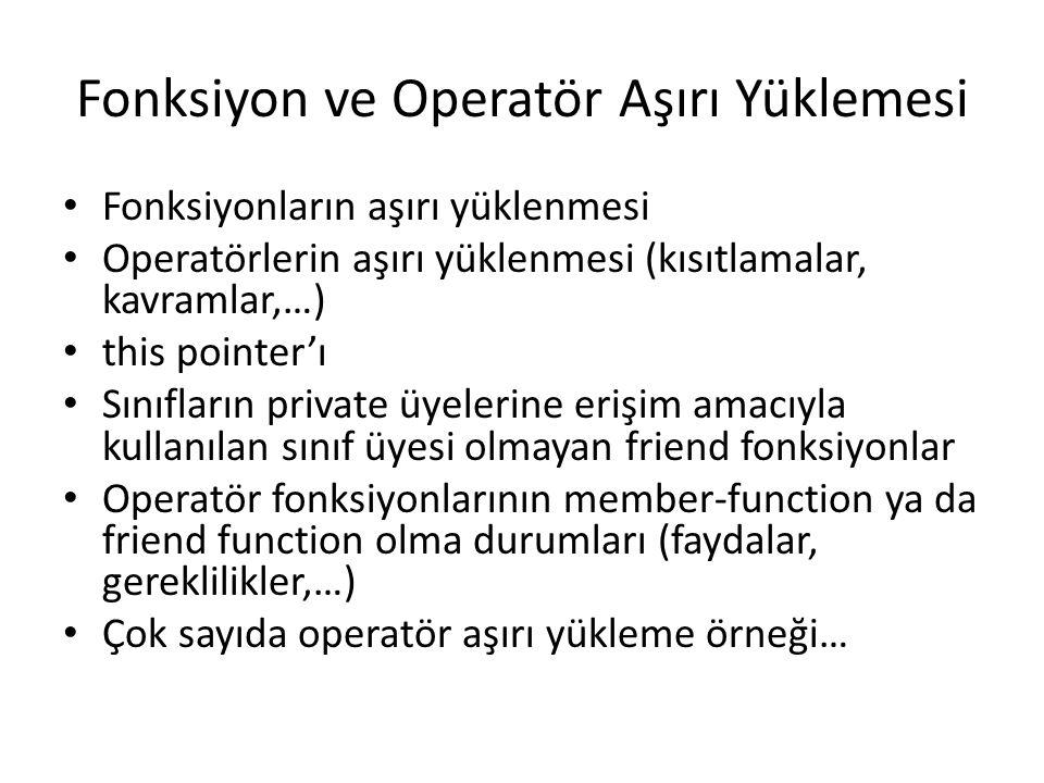 Fonksiyon ve Operatör Aşırı Yüklemesi Fonksiyonların aşırı yüklenmesi Operatörlerin aşırı yüklenmesi (kısıtlamalar, kavramlar,…) this pointer'ı Sınıfl