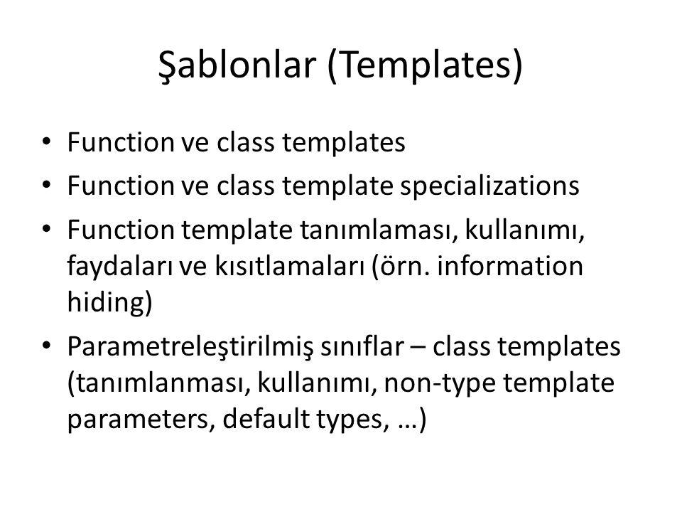 Şablonlar (Templates) Function ve class templates Function ve class template specializations Function template tanımlaması, kullanımı, faydaları ve kı