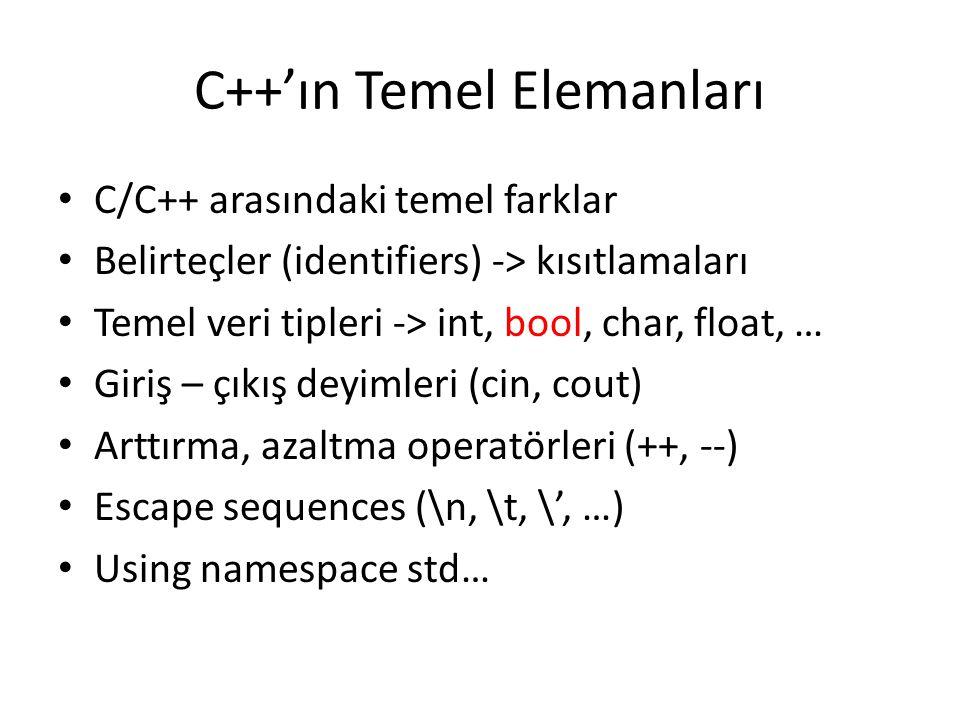 C++'ın Temel Elemanları C/C++ arasındaki temel farklar Belirteçler (identifiers) -> kısıtlamaları Temel veri tipleri -> int, bool, char, float, … Giri