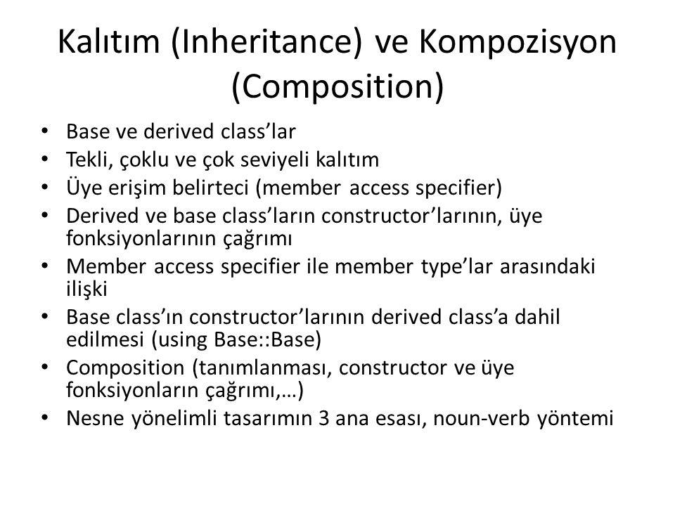 Kalıtım (Inheritance) ve Kompozisyon (Composition) Base ve derived class'lar Tekli, çoklu ve çok seviyeli kalıtım Üye erişim belirteci (member access