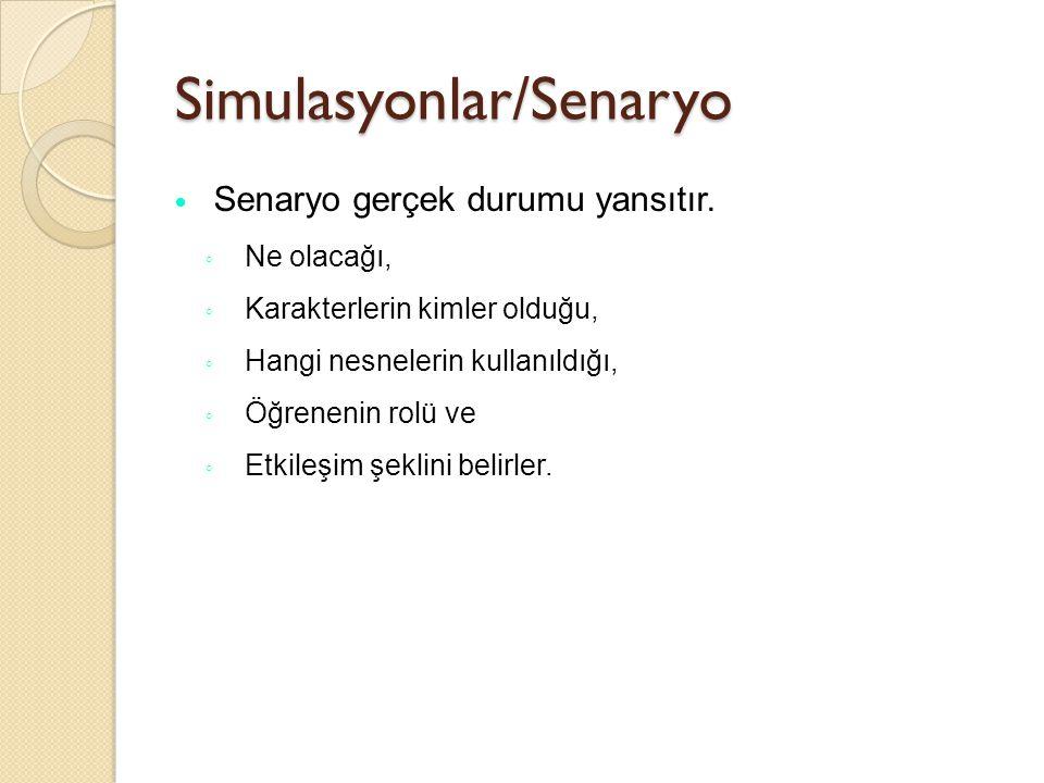 Simulasyonlar/Senaryo Senaryo gerçek durumu yansıtır. ◦ Ne olacağı, ◦ Karakterlerin kimler olduğu, ◦ Hangi nesnelerin kullanıldığı, ◦ Öğrenenin rolü v