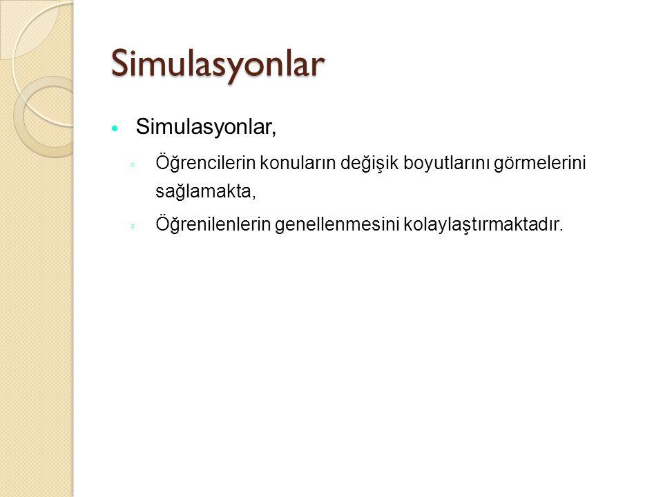 Simulasyonlar Gerçek durum ◦ Tehlikeli, ◦ Pahalı, ◦ Çok karmaşık, ◦ Logistik olarak zor oldu ğ u durumlarda kullanılır.