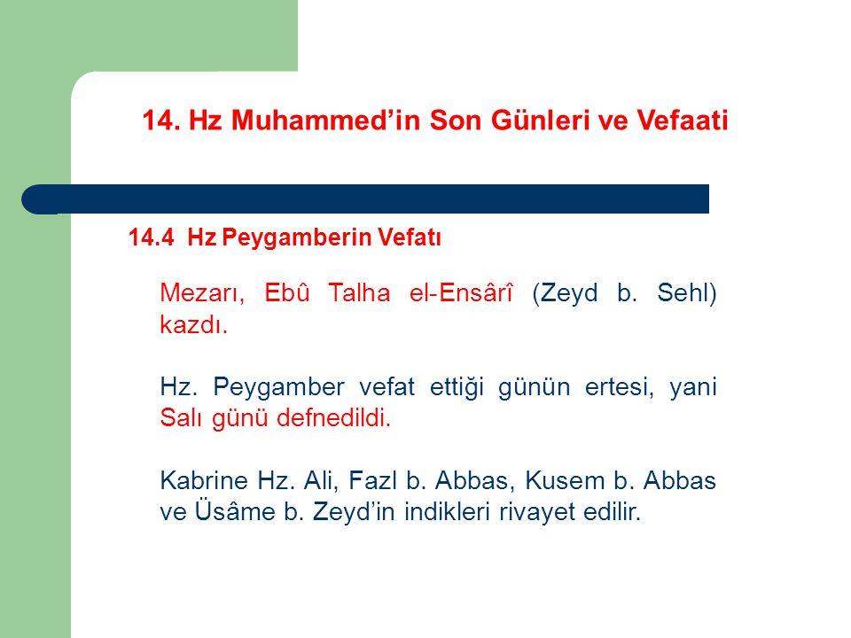 14. Hz Muhammed'in Son Günleri ve Vefaati 14.4 Hz Peygamberin Vefatı Mezarı, Ebû Talha el-Ensârî (Zeyd b. Sehl) kazdı. Hz. Peygamber vefat ettiği günü
