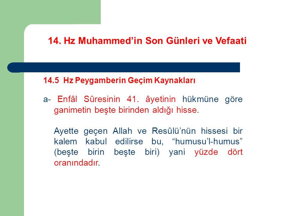 14. Hz Muhammed'in Son Günleri ve Vefaati 14.5 Hz Peygamberin Geçim Kaynakları a- Enfâl Sûresinin 41. âyetinin hükmüne göre ganimetin beşte birinden a