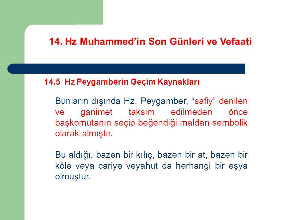 14.Hz Muhammed'in Son Günleri ve Vefaati 14.5 Hz Peygamberin Geçim Kaynakları Bunların dışında Hz.