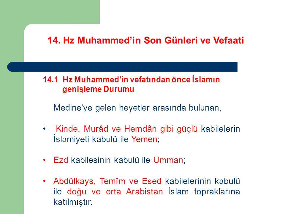 14. Hz Muhammed'in Son Günleri ve Vefaati 14.1 Hz Muhammed'in vefatından önce İslamın genişleme Durumu Medine'ye gelen heyetler arasında bulunan, Kind