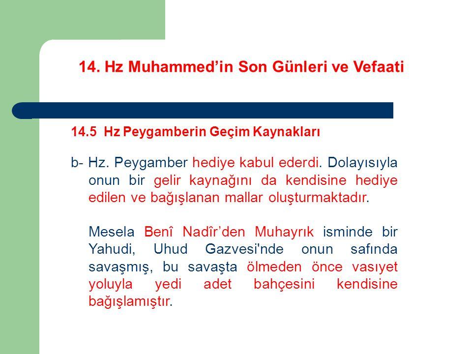 14.Hz Muhammed'in Son Günleri ve Vefaati 14.5 Hz Peygamberin Geçim Kaynakları b- Hz.