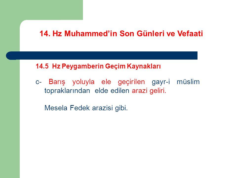 14. Hz Muhammed'in Son Günleri ve Vefaati 14.5 Hz Peygamberin Geçim Kaynakları c- Barış yoluyla ele geçirilen gayr-i müslim topraklarından elde edilen