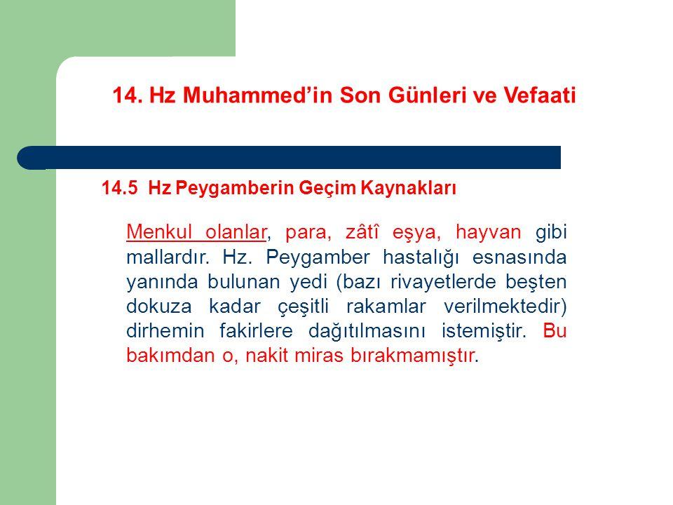 14. Hz Muhammed'in Son Günleri ve Vefaati 14.5 Hz Peygamberin Geçim Kaynakları Menkul olanlar, para, zâtî eşya, hayvan gibi mallardır. Hz. Peygamber h