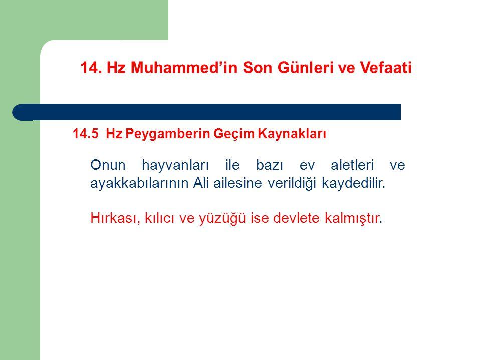14. Hz Muhammed'in Son Günleri ve Vefaati 14.5 Hz Peygamberin Geçim Kaynakları Onun hayvanları ile bazı ev aletleri ve ayakkabılarının Ali ailesine ve